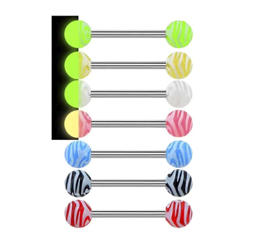 Piercing para la lengua en forma de barra con colores de caramelos
